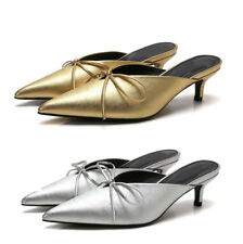 Womens Bow Mules Sandals Pointed Toe Low Mid Heels Work Office Pumps Court Shoes