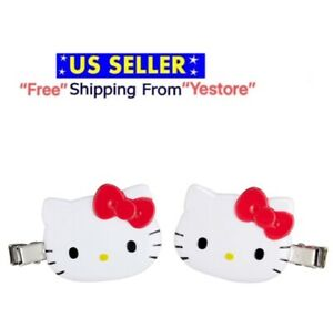 JAPAN SANRIO Hello Kitty Cat Hair Bang Clip Red White 2 pcs Accessory Decoration