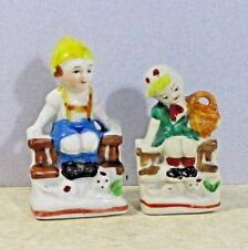 Occupied Japan 2 figures/figurines ceramic/china Boy & Girl on a Fence cnr