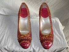 Dior Galliano Pump Womens Python Pink Blush Snake Whipsitched Sz39 Tan