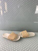VANS White/Yellow Checkerboard Slide On Sandals Men's Size 10