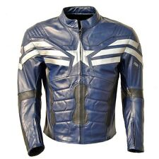 Classyak Mens Captain America Motorbike Real Leather Jacket Top Quality Xs-5xl