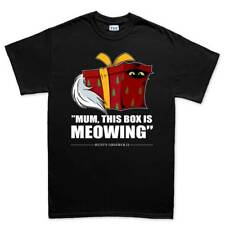 Meowing Box Cat Christmas Xmas Gift Santa Mens T shirt Tee Top T-shirt