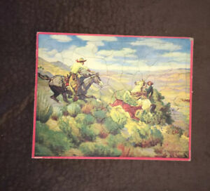 Vintage R Farrington Elwell Western Cowboys Horses Roping - Walzer Tray Puzzle