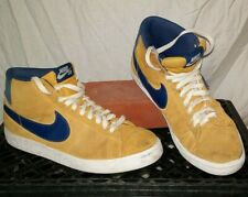 VTG NIKE Basketball SHOES Swoosh SB Leather Suede GOLDEN STATE Size 9