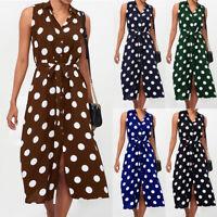 Ladies Sleeveless Polka Dots Button Belt Women's Skirt Summer Casual Midi Dress