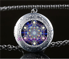 Sacred Geometry Photo Cabochon Glass Tibet Silver Locket Pendant Necklace