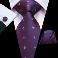 USA Blue&Burgendy Novelty Men's Tie Silk Necktie Set Hanky Cuff links Wedding