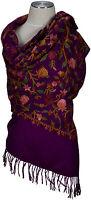 Pashmina Schal Fuchsia 100% Wolle  hand bestickt scarf stole pure wool Foulard