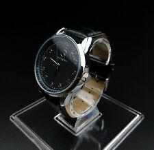 Mercedes Benz Mens Watch Stainless Steel Black Leather Strap - Black Face - UK