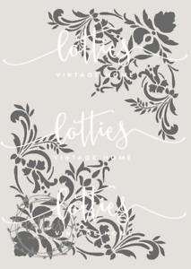 A4 STENCIL DECORATIVE CORNERS ❤ Furniture Fabric Vintage Shabby Chic 190 MYLAR