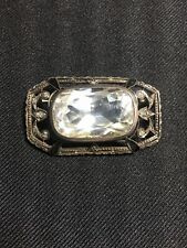 Beautifully Crafted Antique Faux Diamond Costume Jewelry Brooch Enamel 19th C