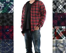 Wrangler Flannel Shirt Jacket Men's Hooded Plaid Patterned Quilted Snap Button