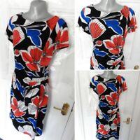 Roman size 14 Stretchy Dress ruched side wiggle red blue black floral lined