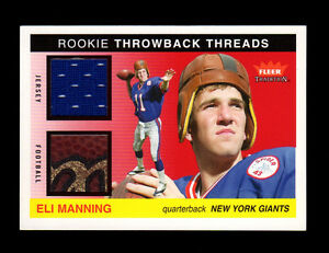 2004 Fleer Tradition Eli Manning Prime Game-Used Rookie Lot/Helmet/Patch/Cap/FB