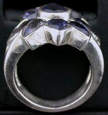 Natural Iolite Pear Round Gem Stone Gemstone Sterling Silver Ring Size 6 PSR256