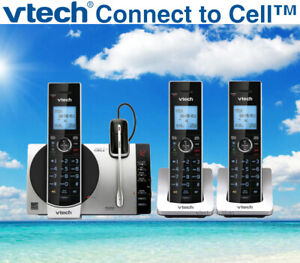 VTECH DS6771-3 BLUETOOTH CONNECT TO CELL+ANSWERING-3 CORDLESS PHONES + 1 HEADSET