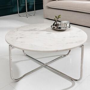 Edler Couchtisch NOBLE 62cm weiß abnehmbare Marmor-Platte Wohnzimmertisch