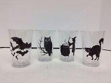4 Pottery Barn Kids Halloween Tumbler Cups Plastic Glasses bat cat owl witch