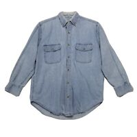 Royal Knight Denim Shirt Mens Size M Medium Blue Button Front Long Sleeve Cotton