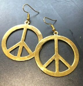 hippy peace and love CND earrings Gold ex large 18k Plated hooks - handmade