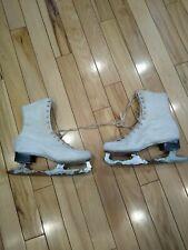 Vintage Women's Ice Skates White Figure Skates Insulated Size 10 For Decoration