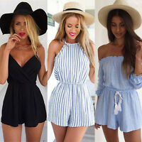 Womens Holiday Mini Playsuit Jumpsuit Beach Romper Summer Beach Shorts Dress