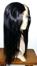18 INCH 100% HUMAN HAIR U PART WIG YAKI STRAIGHT MEDIUM CAP LONG BLACK BROWN #47