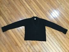 ARMANI COLLEZIONI Black Wool Cable Knit V Neck Long Sleeve Sweater Size 12
