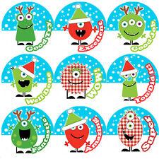 144 Christmas Monsters Praise Words 30mm Children's Reward Stickers for Teachers