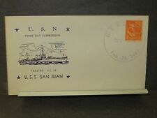 USS SAN JUAN CL-54 Naval Cover 1942 WWII COMMISSIONED Cachet BOSTON, MASS