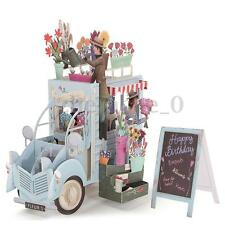 3D Pop Up Car of Flower Greeting Cards Happy Anniversary Birthday Invitations AU