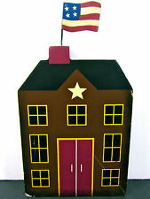 """4TH OF JULY SUMMER Americana Rustic Wood Cutout 8"""" Colonial Building USA Flag"""