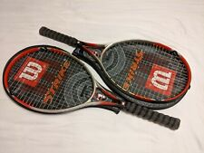 Lot of two (2) Wilson Titanium Strike tennis racquets with covers