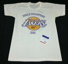 Magic Johnson Signed 1985 World Champions Los Angeles Lakers T-Shirt PSA 3A90053