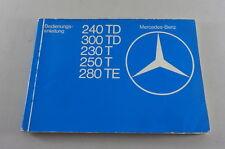 Instrucciones Servicio Mercedes-Benz W123 230 240 250 280 T Te Td Modelo T 1979