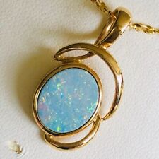 Colorful white LARGE Australian Opal 4ct 14k gold Ladies Pendant Loop Ribbons