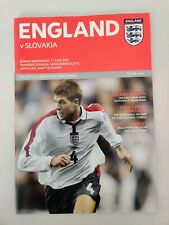 England Vs Slovakia Programme At Middlesbrough 2003