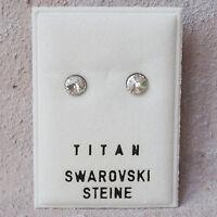 NEU Titan OHRSTECKER 5mm SWAROVSKI STEINE in crystal/kristallklar OHRRINGE