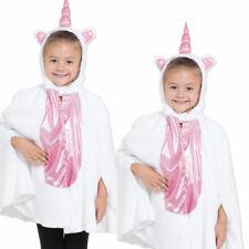 Childs Kids Girls Magical Unicorn Pony Glitter Hoody Poncho Fantasy Cape Costume