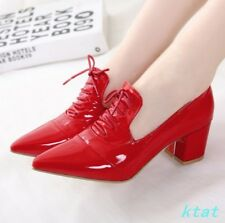 Hot Women's Shoes Pointy Toe Lace up Block Heel Patent Leather shoes New Lace Up