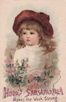 1888 Textured Victorian Trade Card Medicine Hood's Sarsaparilla Girl Wild Roses