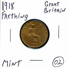 Great Britain Farthing 1918 George V in Uncirculated Condition 02