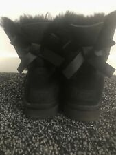 UGG Mini Bailey Bow Classic Black Ladies Ankle Boots RRP £210 EU 37 UK 4.5