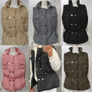 WOMENS LADIES PADDED PUFFER QUILTED GILET  JACKET WAISTCOAT BODY WARMER