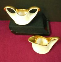 VINTAGE SUGAR BOWL & CREAMER WITH GOLD TRIM PRE-OWNED