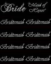 LOT OF 10 RHINESTONE (1 BRIDE) (1 MAID OF HONOR) (8 BRIDESMAID) IRON ON TRANSFER
