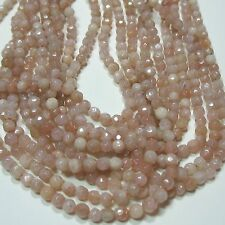 """Peach Moonstone 4mm Faceted Round Beads 15"""" Sparkling Sheen Semi-Precious Stone"""