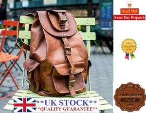 Backpack Rucksack Vintage Genuine Leather Laptop Messenger Bag Satchel unisex