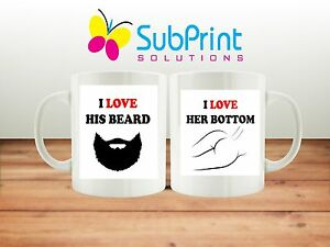Valentines Day,Love, His and Hers Beard & Bottom Mug Set,Christmas,Birthday gift